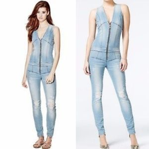 GUESS MAXINE RIPPED ZIP JEAN JUMPSUIT